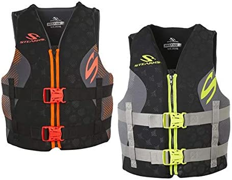 STEARNS Hydroprene Life Vest 2 Pack, 1 Black& Green/1 Black & Orange, S/M