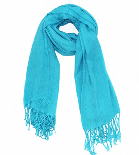 - Soophen Pashmina Scarf Beautiful Solid Colors - Lake Blue