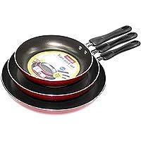 Prestige Aluminum Non-stick Fry Pan Set of 3-Piece, Red PR21784