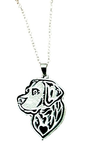 Sterling Silver Labrador Retriever - Labrador Retriever Etched Silver Chain Pendant Necklace by Pashal
