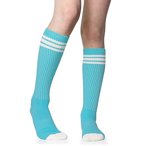 Baby, Toddler & Kids Knee High Tube Socks For Boys & Girls With Grips (1 Pair) (6-10 Years (Size 1-4), Turquoise/white) -