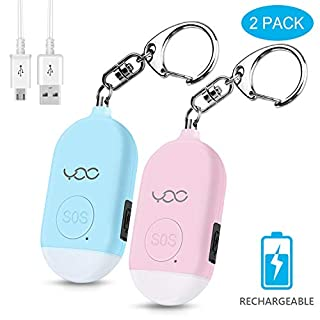 YDO Safe Personal Alarm, 130db Personal Safety Alarm Siren Song for Women Keychain with USB Rechargeable, LED Flashlight, Emergency Self Defense Safe Sound for Kids & Elderly 2 Pack (Blue&Pink)