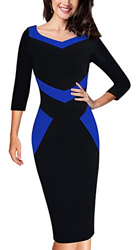 4 Casual Manches Dress Bodycon Business de Bleu Bloc 3 HOMEYEE B411 Longueur au Genou Femmes Couleur S1vaxa