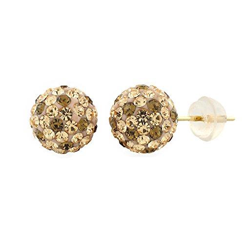 14k Yellow Gold Womens 8mm Austrian Crystal Ball Studs Earrings (Leopard)