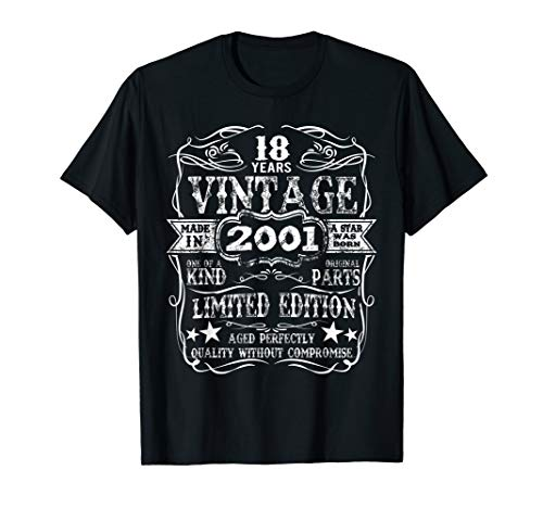 Made In 2001 18 Years Old Vintage 18th Birthday Gift T-Shirt ()