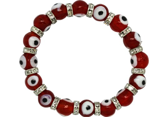 Evil Eye Glass Bead Bracelet - Transparent Red Eyes - Nazar Boncuk Glass Eyeball Elastic Wristband]()
