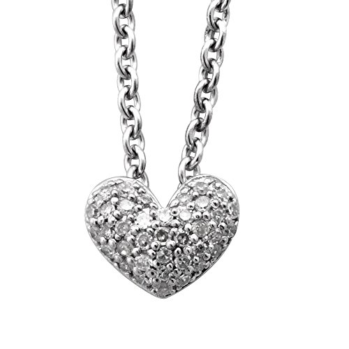 Pave Set Diamond in Sterling Silver Heart Pendant Necklace (0.13 carat)