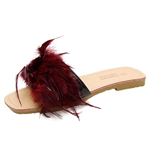 Orangeskycn Women Sandals Ladies Fashion Colorful Feather Slippers Sandals Peep Toe Roman Casual Flat Shoes Red ()