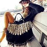 Shopinthebox Lady Punk Tassel leopard print Fringed Handbag Tote Shoulder Purse Bag Black, Bags Central