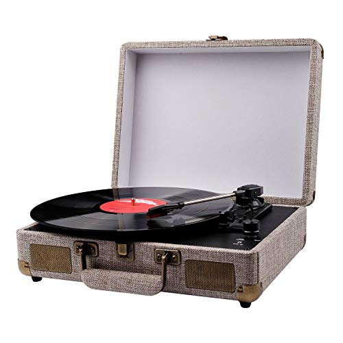 Vinyl Record Player, Portable Suitcase Turntables for Vinyl Records, Belt-Drive 3-Speed Vintage Lp Record Player (Record Player In Case)