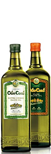 Olio Carli Oils Duo. Six 3/4 Liter (25 oz.) bottles of Extra Virgin and Six 3/4 Liter bottles of Pure Olive Oil.