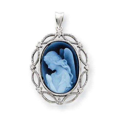Icecarats Créatrice De Bijoux Ailes D'Or Blanc 14K D'Amour Diamants Pendentif Camée