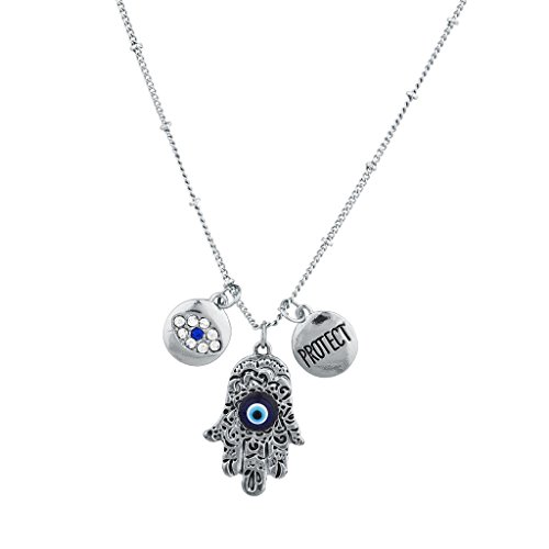 Lux Accessories Silvertone Boho Evil Eye Hamsa Protect Inspirational (Diy Evil Queen Costume)