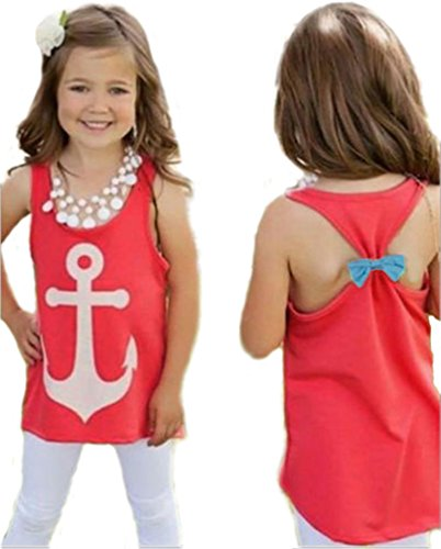 Girls Kids Anchor Vest Sleeveless Summer Clothes Cotton Tank Tops Bowknot T-Shirt (4-5years)
