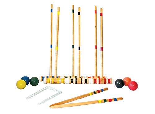 HealthyBells 6-Player Beginner Backyard Croquet Set Includes 6 Wood Mallets, 6 Balls, and Carry Bag