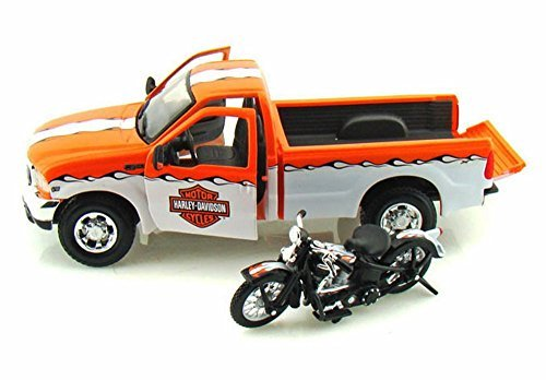 1999/1936 - Ford F-350 Super Duty Pickup Harley-Davidson / EL Knucklehead Motorcycle, Orange & White - Maisto HD 32172 - 1/27 Scale Diecast Model Toy Car, 1/24 Scale Diecast Model Toy Motorcycle