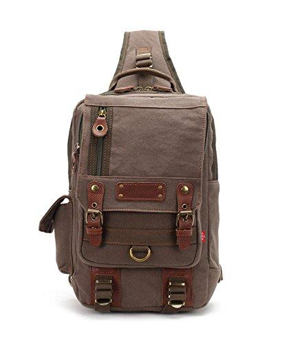 Leather Single Strap - Canvas Men Leather Messenger Bag Travel Shoulder Backpack Single Strap Chest Bag (Army Green)