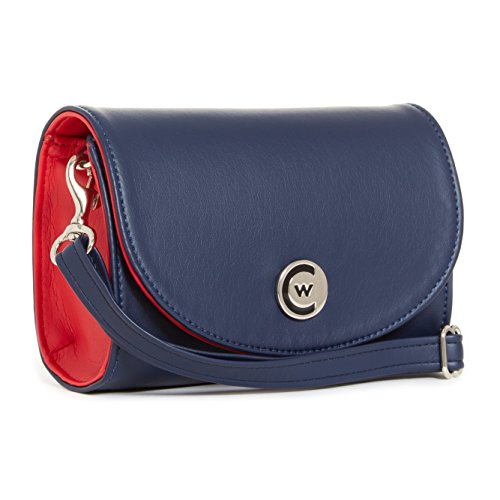 Stadium leather Accents Crossbody Handbag Navy Silver Compliant Clutch Red Women 5qwz0zO