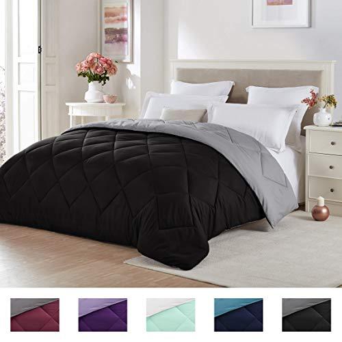 Seward Park Solid, Reversible Color Microfiber Comforter,Hypoallergenic Plush Microfiber Fill, Duvet Insert or Stand-Alone Comforter, Spring/Summer Comforter Lightweight, Twin Extra Long, Black/Gray