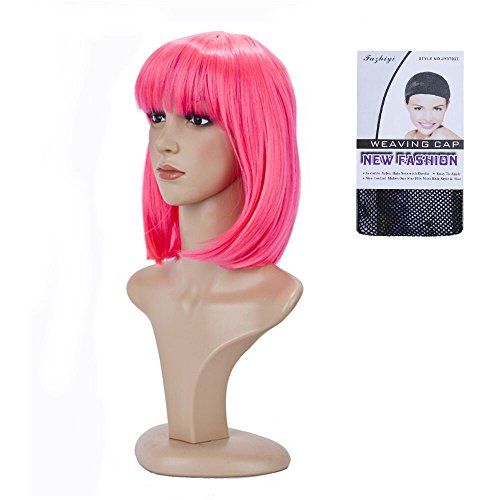 (BeliHair Cosplay Pink Wigs for Women Costumes 12 inch Short Straight BOB Hot Pink Wig for Christmas Party Daily)