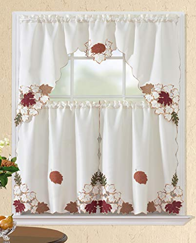 All American Collection New 3pc Fall Holiday Season Design Embroidered Kitchen Curtain Set (Leaves) (Kitchen Curtains Fall)