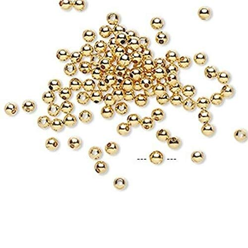 Wholesale 1000 Gold Plated Brass Round Smooth Beads / 2.5Mm