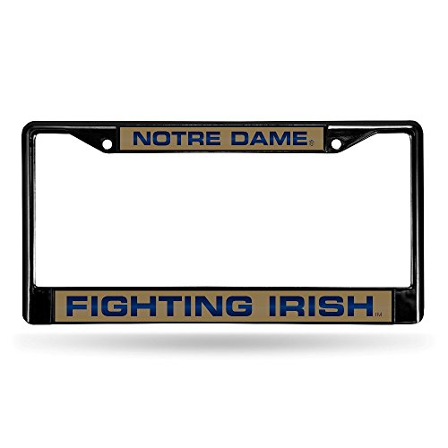 Rico Industries NCAA Notre Dame Fighting Irish Laser Cut Inlaid Standard Chrome License Plate Frame, 6