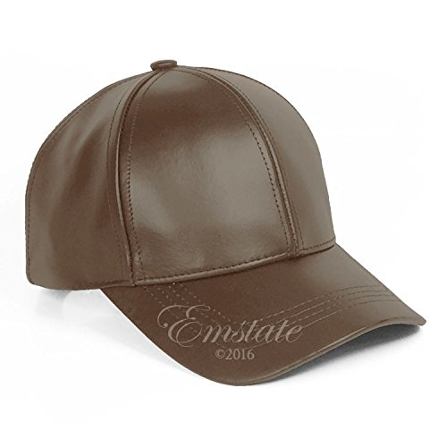 Emstate Cowhide Leather Unisex Adjustable Baseball Cap Made in USA (Brown)