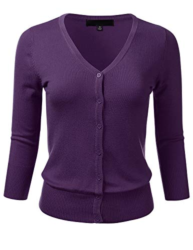 FLORIA Women's Button Down 3/4 Sleeve V-Neck Stretch Knit Cardigan Sweater Grape S