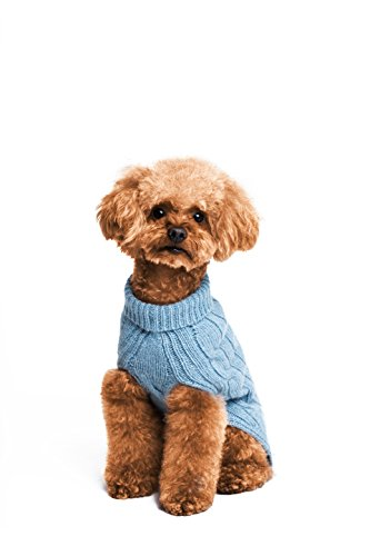 Lambswool Sweater Blue (Golden Paw Premium Lambswool Turtleneck Sweater, Dog Apparel, Warm Dog Clothes (Large, Blue))