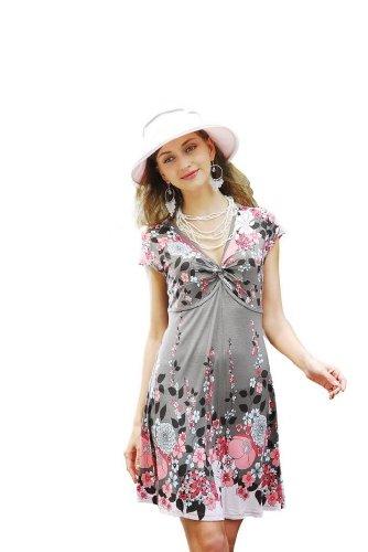 CHANCEFUL Womens Sleeve Printed Sundress