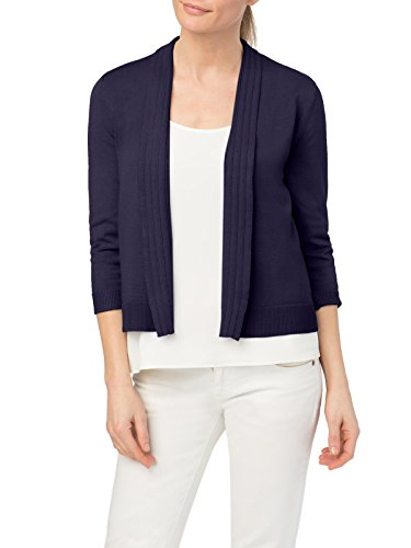 (89th&Madison Pointelle Trim Open Front Cardigan Shrug (L, Baltic SEA))