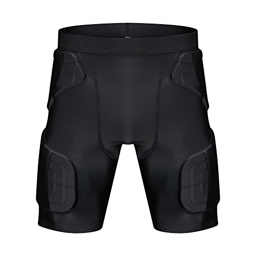 TUOY Men's Padded Compression Shorts 5-Pad Football Girdle Hip Thigh -