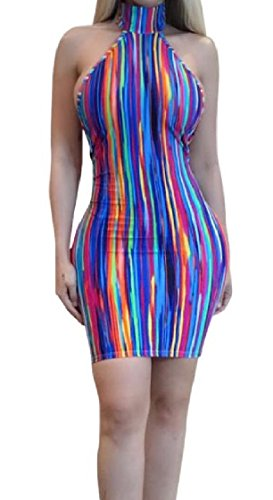 Coolred-femmes Dos Nu Évidé Club Soir Robes Rayées Coloré As1