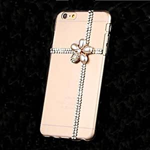 YULIN LUXURY Diamonds Pearl Crystal Gem Flowers Back Cover Case for iPhone 6 Plus