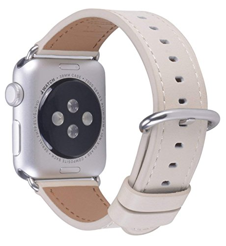JSGJMY Apple Watch Band 38mm Women Ivory white Vintage Genuine Leather Loop Replacement Iwatch Strap with Stainless Steel Clasp for Apple Watch Series 3 2 1 Sport (Ivory Band)