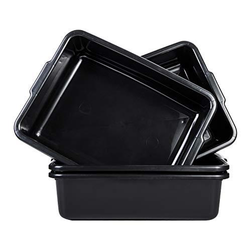 Black Plastic Commercial 4-Pack Bus Box/Tub, 13 Liter Plastic Storage Box with Handles/Wash Basin Tote (13.8 Quart)
