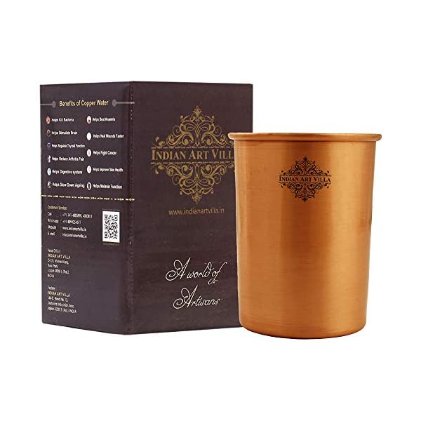 Indian Art Villa Pure Copper Plain Glass with Matt Finish Design, Drinking Serving Water, Yoga Ayurveda, Volume-300 ml