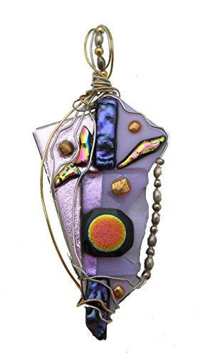 (Glass Pendant Lavender Gold Plate Wire, Design by Renata )