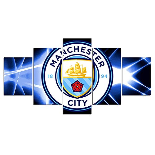 Manchester City Photo - XINMENG Football Art 5 Panel Canvas Art, Manchester City Print Wall Art Painting, Modern Canvas Stretch and Frame, Home Decor, Living Room, Office, Gift,12x20inx212x28inx212x32inx1