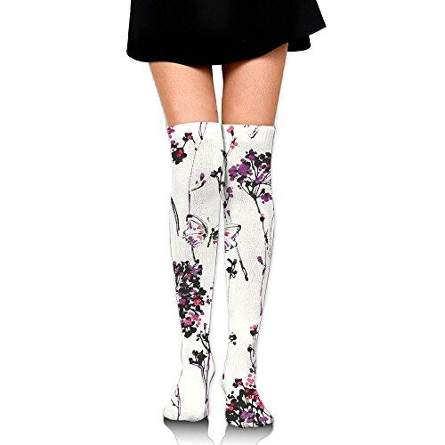 RobotDayUpUP Floral Butterfly Meadow Womens Long Socks,classic Girls Skirt Stockings Knee Thigh Socks For Running Soccer Sports Dance Yoga Cheerleader Hiking Outdoor