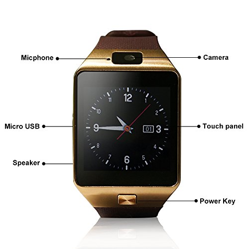 CLZZ Silver Bluetooth Watch 30 MP Camera 128M+64M Storage, Silver