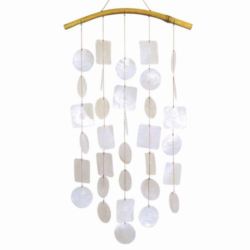 - Capiz Shells Wind Chimes 24 Inch White Circles Squares with Bamboo Arch