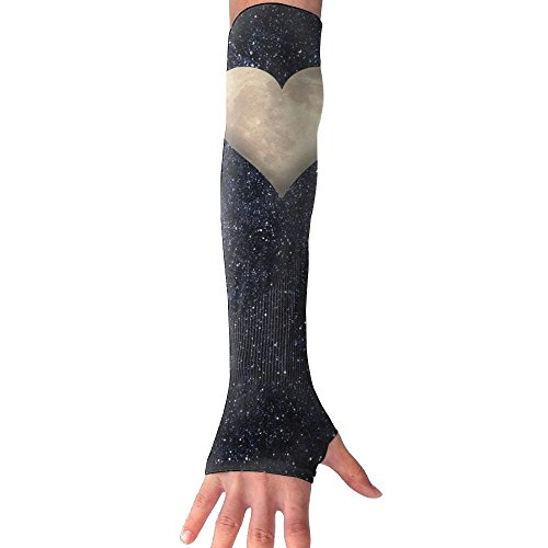NUNOFOG The Moon In Heart Unisex Summer Arm Cover Sleeves Long Fingerless Sun-proof Anti-UV Long Gloves Outdoor