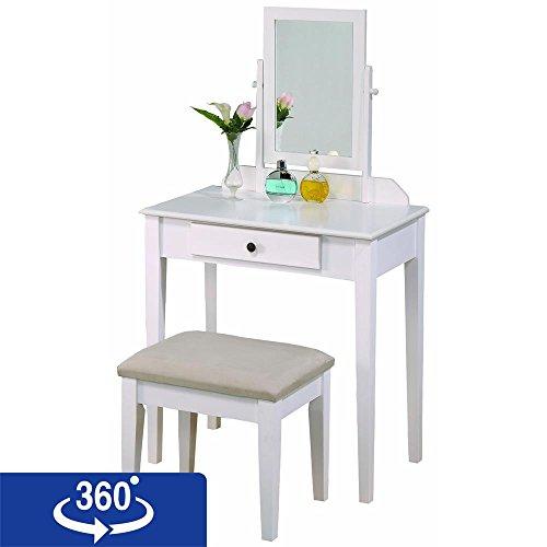Crown Mark Iris Vanity Table Stool White Finish With