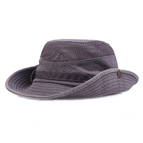 King Star Men Summer Cotton Cowboy Sun Hat Wide Brim Bucket Fishing Hats Grey