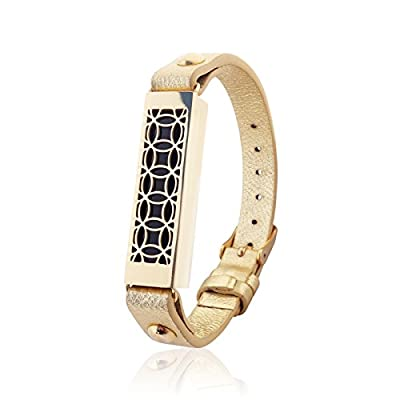 FitBit Flex 2 Jewelry - Fitbit Bracelet HYDE 2 - stainless steel and real leather - Fitbit Flex 2 replacement band - available colors Gold, Rose gold, Black and Silver