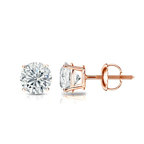 Diamond Wish 14k Rose Gold Round Diamond Stud Earrings (1 cttw, White, I2-I3, Certified) 4-Prong Basket set with Screw-Back Clasps ()