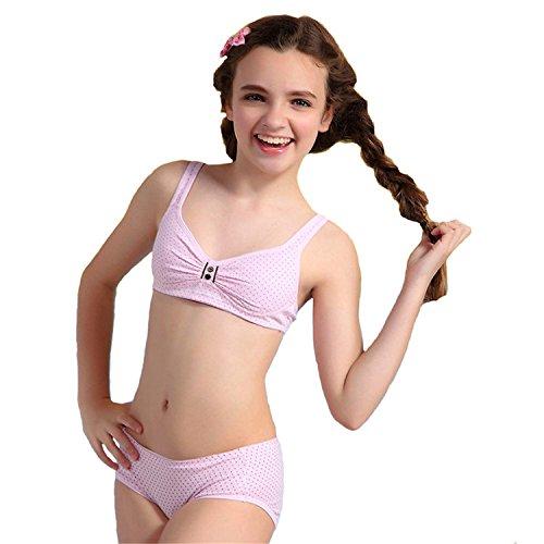 b946c5de44840 MANJIAMEI Puberty Girls Cotton Bra and Pants Sets for Girls  Amazon.co.uk   Clothing