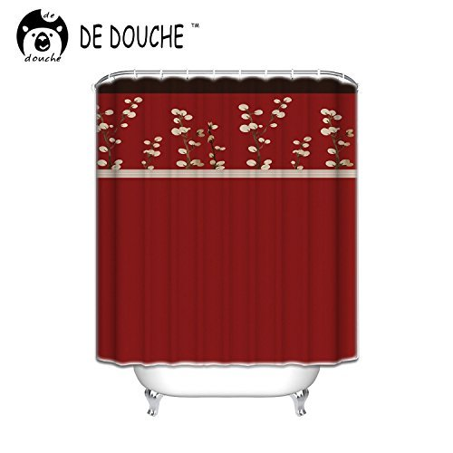 Cocoa Flower Shower Curtain, 36x72inch, Red (Red Cocoa)